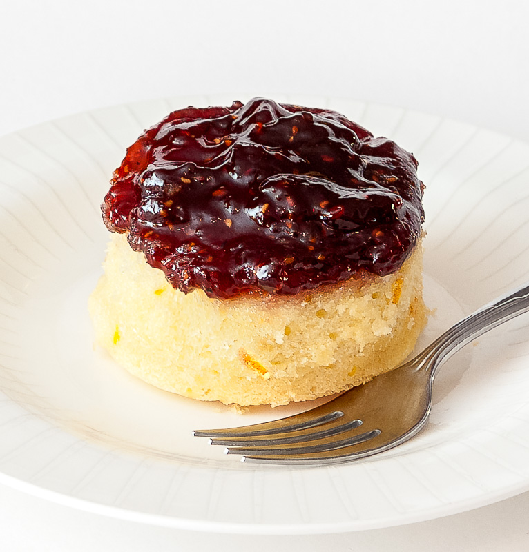 Orange Baked Sponge Pudding with Raspberry Jam