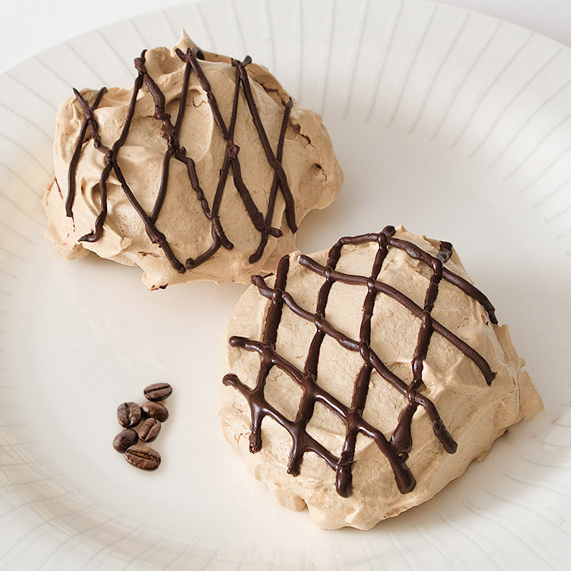 Coffee Meringues Drizzled with Chocolate