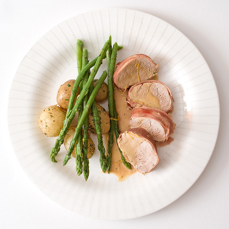 Prosciutto Wrapped Pork with Herby Vegetables