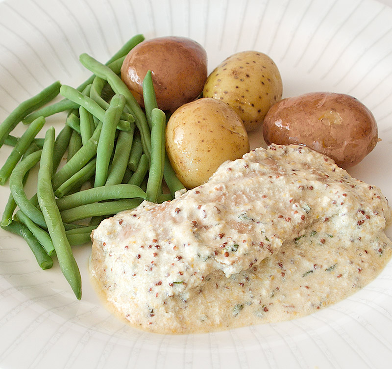 Pork Escalopes in a Herb and Mustard Sauce