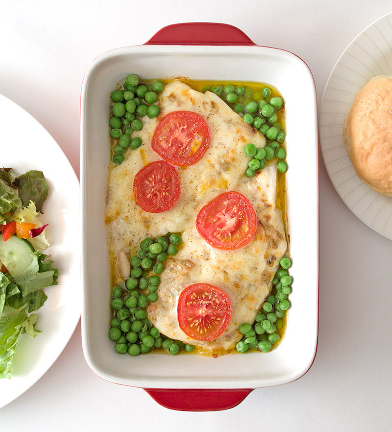 Summer Cod with Cheese and Tomato