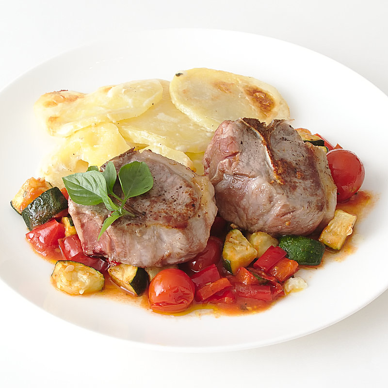 Mediterranean Lamb Cutlets with Potatoes Dauphinoise