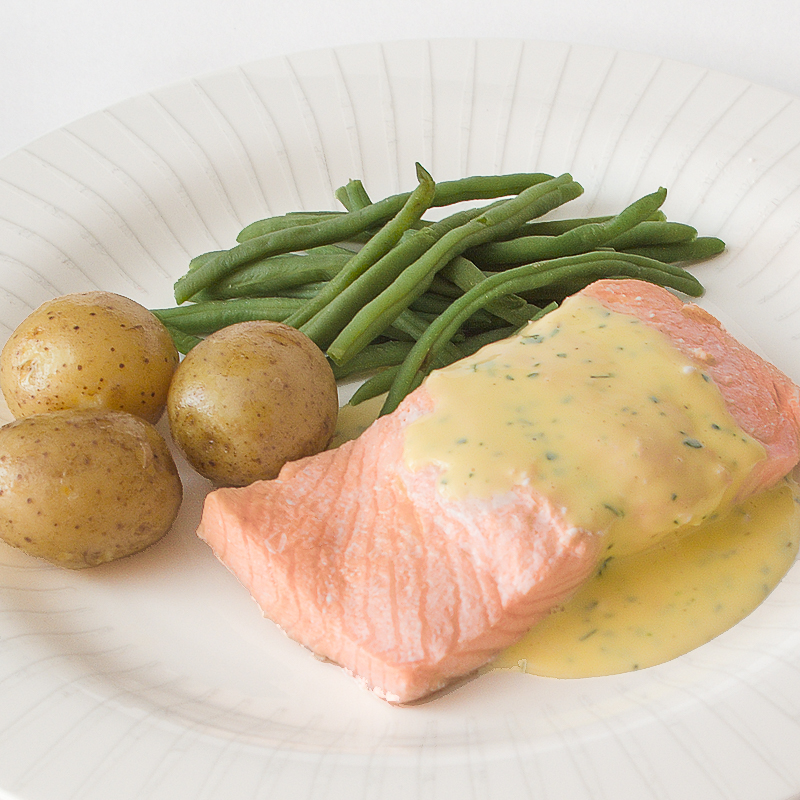 Poached Salmon with a Herb Sauce