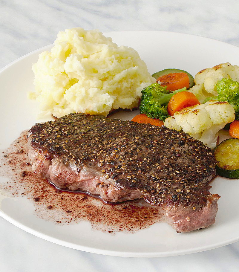 Peppered Steak with a Merlot Sauce