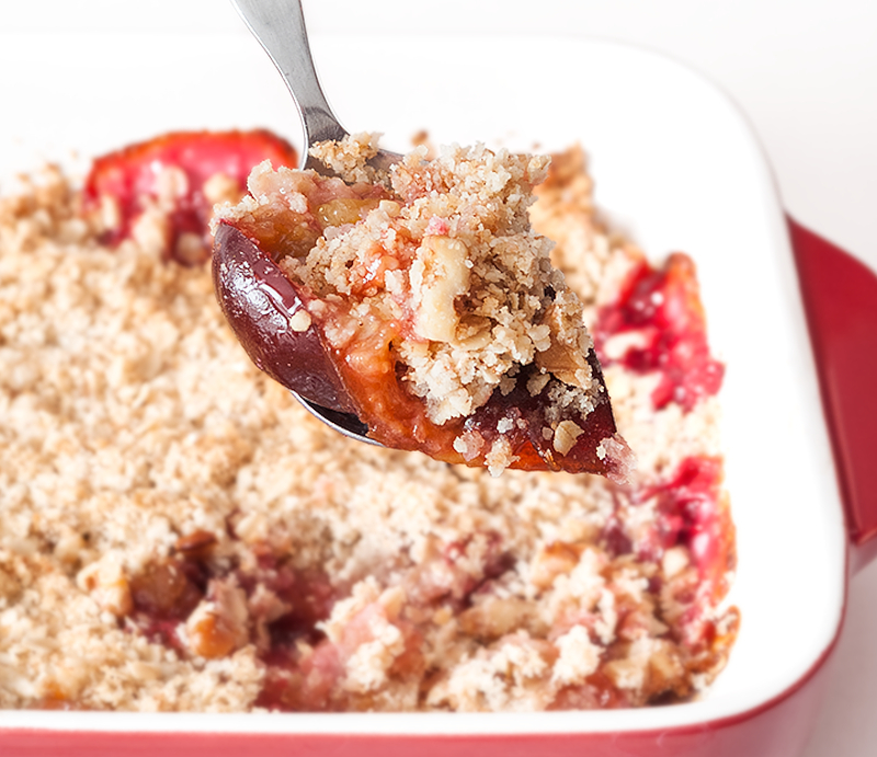 Oats and Walnut Plum Crumble