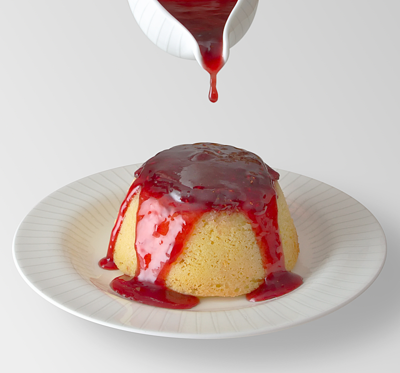 Jam Sponge Pudding with a Raspberry Sauce