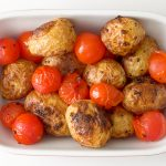Mustard Roasted Potatoes with Cherry Tomatoes